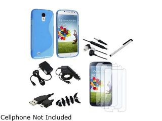 Insten 10 in 1 Blue S TPU Case + Clear LCD Protector + Car + AC Charger + USB Cable Compatible with Samsung Galaxy S4 i9500