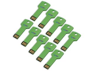 Litop Pack Of 10 Green 4GB Metal Key Shape USB Flash Drive USB 2.0 Memory Disk