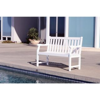 Bradley Eco friendly 4 foot Outdoor White Wood Garden Bench   18180863