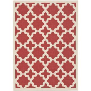 Safavieh Indoor/ Outdoor Courtyard Geometric pattern Red/ Bone Rug (4