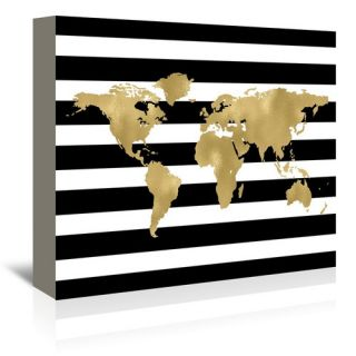 World Map Stripe Graphic Art on Wrapped Canvas by Americanflat