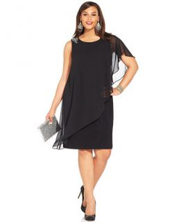 Betsy & Adam Plus Size One Shoulder Chiffon Overlay Dress   Dresses