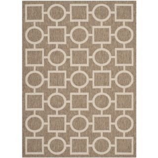 Safavieh Indoor/ Outdoor Courtyard Brown/ Bone Rug with .25 inch Pile