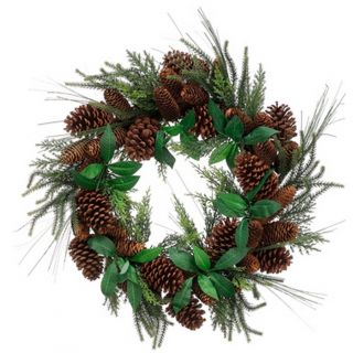 Mixed Pine Artificial Christmas Wreath with Pine Cones by Tori Home