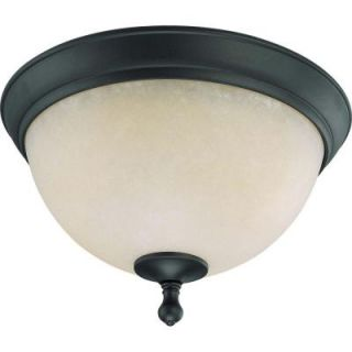 Glomar 2 Light Aged Bronze Flush Dome with Biscotti Glass HD 2792