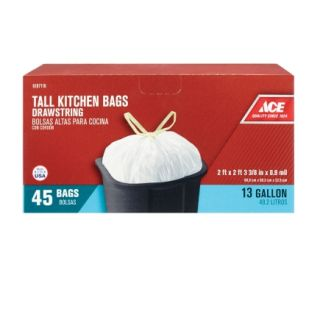 Ace® 13 Gal Tall Drawstring Kitchen Trash Bags   Trash Bags & Holders