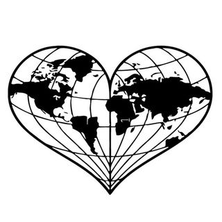 Heart Shaped World Map Wall Vinyl Art