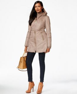 MICHAEL Michael Kors Faux Leather Trim Faux Shearling Coat   Coats