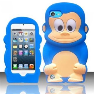 INSTEN Baby Blue Monkey Monkey Style 3D Silicone Soft Skin Case Cover For Apple iPod Touch 5