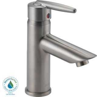 Delta Grail Stainless 1 Handle Single hole/4 in Centerset WaterSense Bathroom Sink Faucet