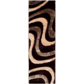 Safavieh Miami Shag Brown/Beige 2 ft. 3 in. x 9 ft. Rug Runner SG361 2513 29