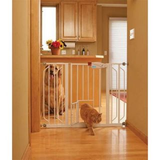 Carlson Extra Wide Walk Thru Gate with Pet Door 0930PW, White
