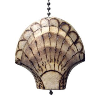 Scallop Shell Wood Burned Hand Carved Wood Ceiling Fan Light Pull