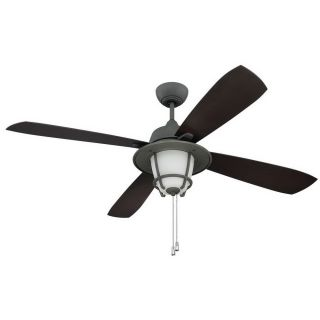 Ellington Fans MR56AGV4C1 Morrow Bay 56 3 Light Ceiling Fan in Aged Galvanized with Dark Walnut Blades and White Frost Glass   Blades Included