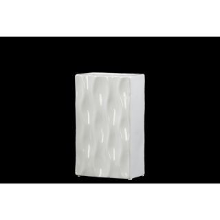Urban Trends Collections Glossy White Ceramic Rectangular Vase
