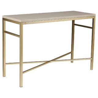 Southern Enterprises Console Faux Stone Table   Matte Brass