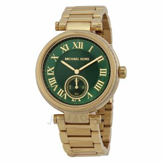 Michael Kors Skylar Emerald Green Dial Gold tone Ladies Watch MK6065