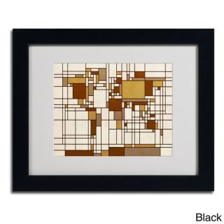 Michael Tompsett Mondrian World Map Framed Matted Art