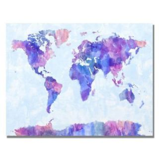 Trademark Fine Art 22 in. x 32 in. Watercolor World Map IV Canvas Art MT0034 C2232GG
