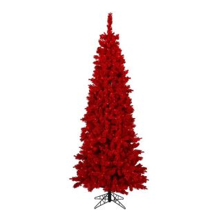 Vickerman 7.5 ft Pre Lit Pine Slim Artificial Christmas Tree with Red Incandescent Lights