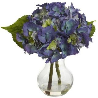 Nearly Natural Blooming Hydrangea with Vase Arrangement 1370 BL