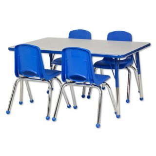 ECR4kids 5 Piece 48 x 30 Rectangular Classroom Table and 14 Chair