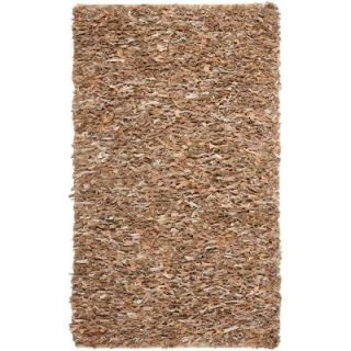 Safavieh Leather Shag Dark Beige 4 ft. x 6 ft. Area Rug LSG421C 4
