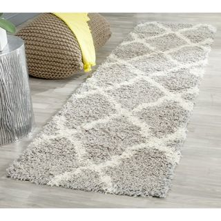 Safavieh Dallas Shag Grey/ Ivory Rug (23 x 8)   Shopping