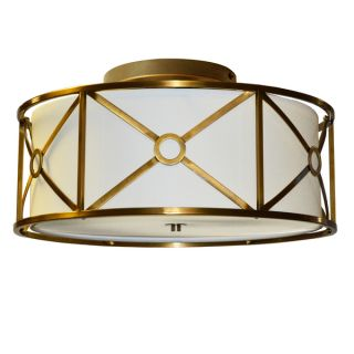 Dainolite 4 light Steel & Fabric Flush Mount Fixture in Vintage Bronze