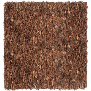 Safavieh Leather Shag Saddle 6 ft. x 6 ft. Square Area Rug LSG511B 6SQ