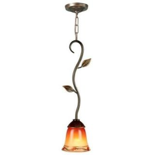 Dale Tiffany Garden Leaf 1 Light Hanging Antique Golden Sand Mini Pendant with Art Glass Shade DISCONTINUED TH70545