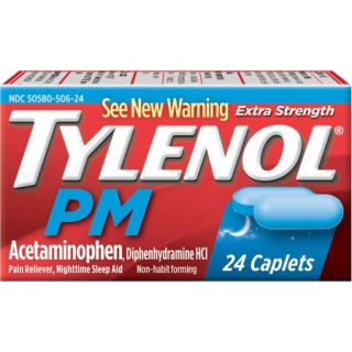 Tylenol PM Extra Strength Pain Reliever/Nighttime Sleep Aid Caplets, 24 count
