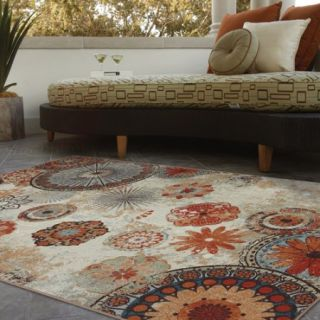 Mohawk Home Alexa Medallion Indoor/Outdoor Nylon Rug, Multi Colored