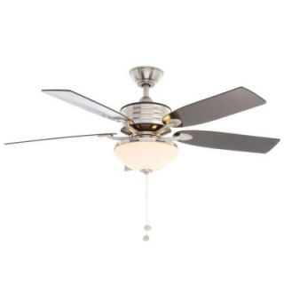 Hampton Bay Santa Cruz 52 in. Brushed Nickel Ceiling Fan with Black Accents AG712 BN+BK