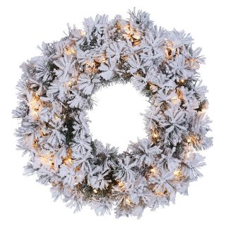 24 in. Pre Lit Flocked Pencil Pine Wreath   Christmas Wreaths
