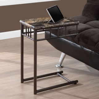 Monarch Square Metal Snack Table   Cappuccino Marble / Bronze   End Tables