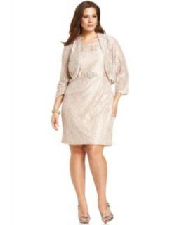 Jessica Howard Plus Size Dress and Jacket, Sleeveless Beaded Lace