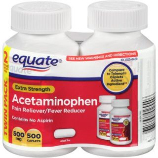 Equate Extra Strength Acetaminophen Pain Reliever/Fever Reducer, 500mg, 250 count (Pack of 2)