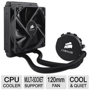 Corsair Hydro Series H55 Quiet liquid CPU Cooler   1 x 120mm Fan, Multi socket Support   CW 9060010 WW