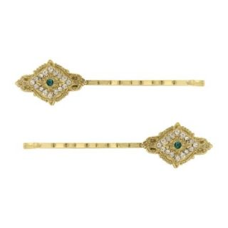 Downton Abbey Emerald Green Crystal Gold Filigree Hair Pin Set