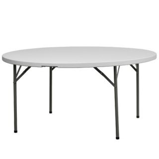 Flash Furniture Round Blow Molded Plastic Folding Table in Granite