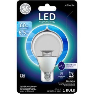 GE 60W Equivalent (Uses 6.5W) Clear A15 Ceiling Fan Sm Base LED Bulb, 1 Pack