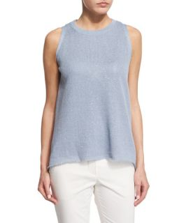Brunello Cucinelli Jewel Neck Sleeveless Paillettes Top, Medium Blue