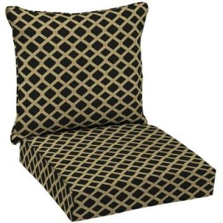 Hampton Bay Black Lattice Welted 2 Piece Pillow Back Outdoor Deep Seating Cushion Set DISCONTINUED AD08911B 9D1