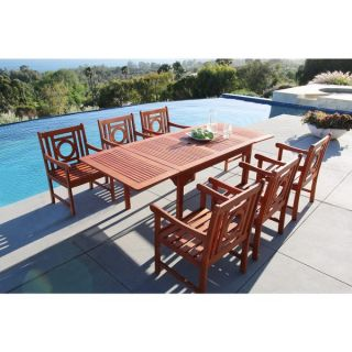 Malibu Eco friendly 7 piece Outdoor Hardwood Dining Set with Rectangle