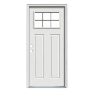 JELD WEN Craftsman Insulating Core Craftsman 6 Lite Right Hand Inswing Arctic White Steel Painted Prehung Entry Door (Common 32 in x 80 in; Actual 33.5 in x 81.75 in)