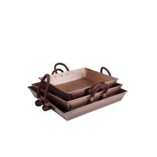Hampton Bay 3 Piece Square Tray Set in Antique Copper with Rope Handle DS 24237