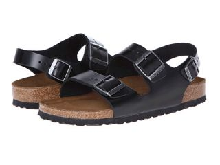 Birkenstock Milano Leather Soft Footbed Black Amalfi Leather, Shoes, Black,