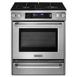 KitchenAid Pro Line Series 4.1 cu. ft. Slide In Dual Fuel Range with Self Cleaning Convection Oven in Stainless Steel KDSS907XSP