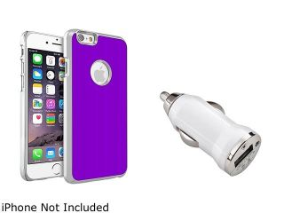 Insten Purple Brushed Aluminum Case Cover with White Car Charger Adapter for Apple iPhone 6 (4.7 inch) 2002651